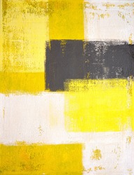 Yellow and Grey Abstract Art Painting