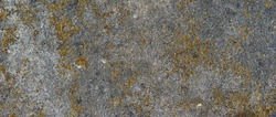 Yellow and grey background with concrete texture horizontal top view isolated, vintage dark wood backdrop, old rustic stone board, space blank back on the table, mock up brick nature wall