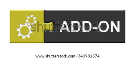 yellow and grey Puzzle Button showing Add on Stock foto ©