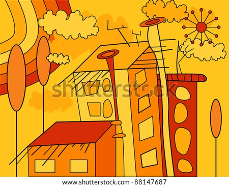 yellow and orange autumn illustration with city, houses, trees, rainbow, clouds and sun