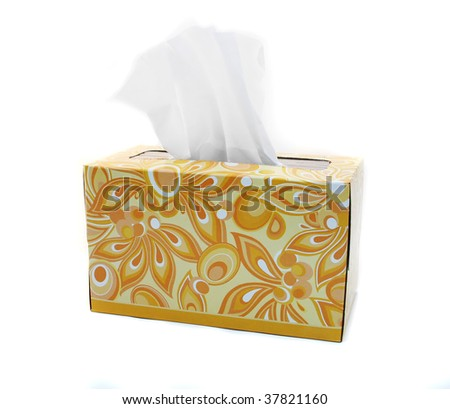 Yellow and Orange Box of Tissues on White Background
