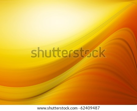 Yellow and orange  dynamic wave over yellow  background. Illustration