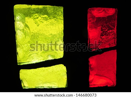 Yellow and red chipped slab glass in stained glass window in a church