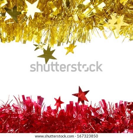 Yellow and red Christmas purple tinsel with stars.