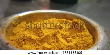 Yellow and red Turmeric powders used for religious events