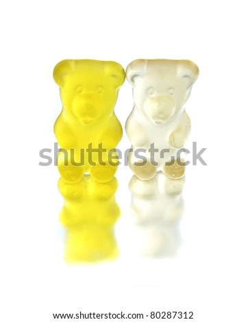 Yellow and white jelly bears