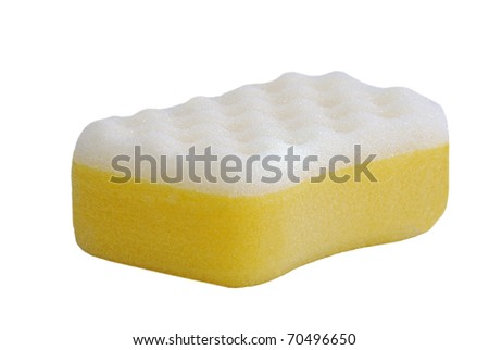 Yellow and white sponge. utensil used for Hygiene and cleaning