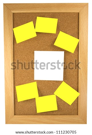 Yellow and white sticky notes on a cork board inside a wooden frame