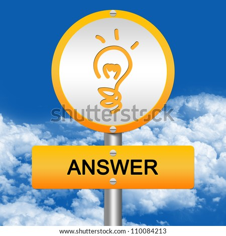 Yellow Answer Street Sign and Light Bulb Sign in Blue Sky Background