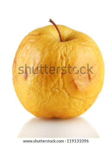 Yellow apple as problem skin concept, isolated on white
