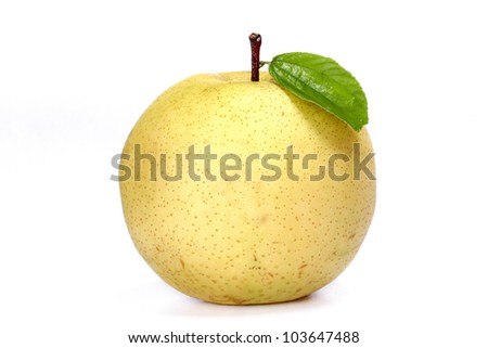 Yellow apple with green leaf isolated on white