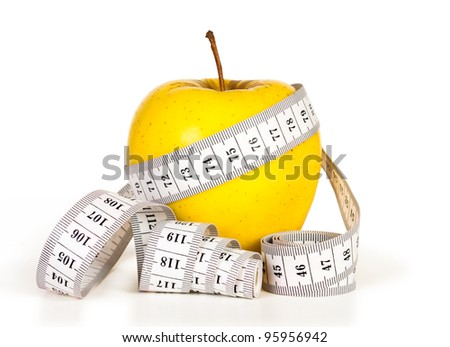 Yellow apples measured the meter, sports apples