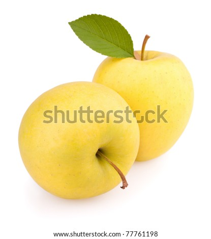 Yellow apples with leaf isolated on white
