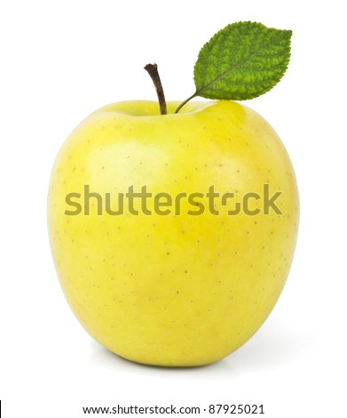 yellow apples with leaves isolated on white