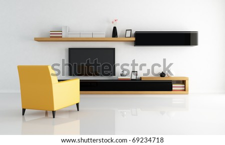 yellow armchair in a minimalist living room with flat tv - rendering