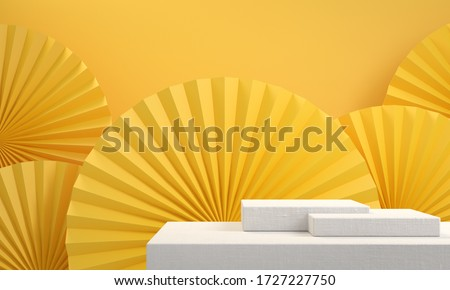 Yellow asia theme background with fabric podium for show products set or cosmetics beauty collection, 3d illustration.