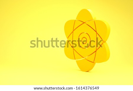 Yellow Atom icon isolated on yellow background. Symbol of science, education, nuclear physics, scientific research. Electrons and protons sign. Minimalism concept. 3d illustration 3D render