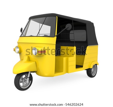 Yellow Auto Rickshaw. 3D rendering