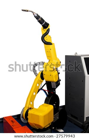 Yellow automatic robotic welder for metal industry