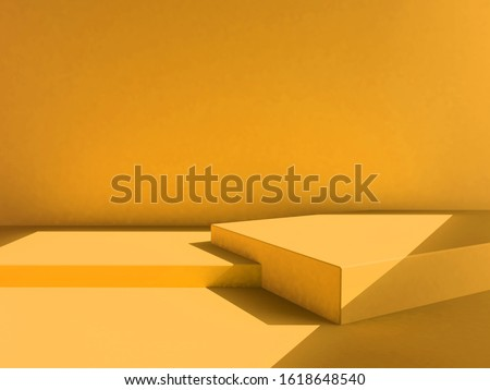 yellow background, yellow backdrop, scene, yellow color mood tone. 3d rendering wallpaper studio set