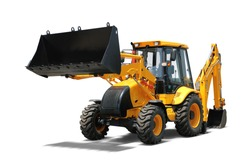 Yellow Backhoe Loader White Background