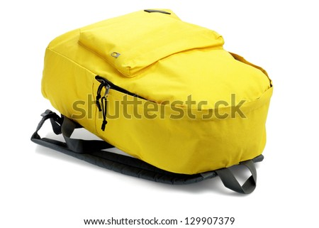 Yellow Backpack Lying on White Background