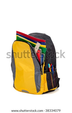 Yellow backpack with school supplies on a white background