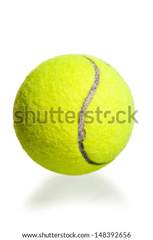 yellow ball for the game of tennis on a white background
