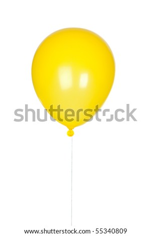 Yellow balloon inflated isolated on white background
