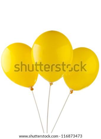 yellow balloon isolated on white background