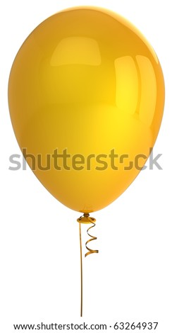 Yellow balloon party Happy Birthday decoration single one blank. Anniversary graduation retirement celebration occasion holiday greeting card concept. Detailed 3d render. Isolated on white background
