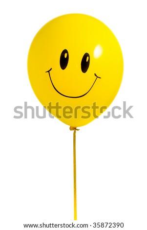 Yellow balloon with smile on white background