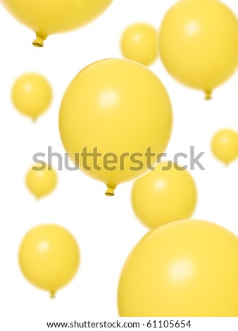 Yellow balloons isolated on white background