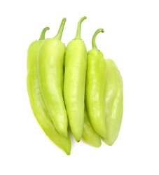Yellow Banana Peppers on White Background