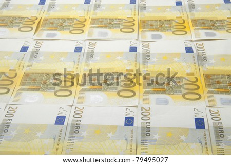 Yellow 200 bank notes for background use