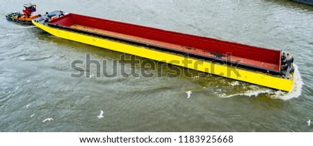 yellow barge in north europe , hamburg