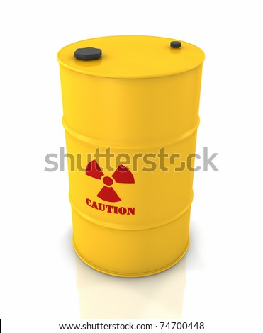 Yellow barrel with red radioactivity symbol, 3d render