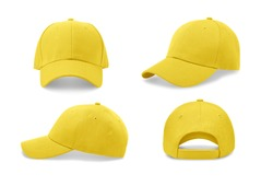 Yellow baseball cap in four different angles views. Mock up.
