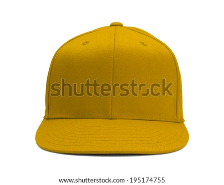 Yellow Baseball Hat Front View With Copy Space Isolated on White Background.