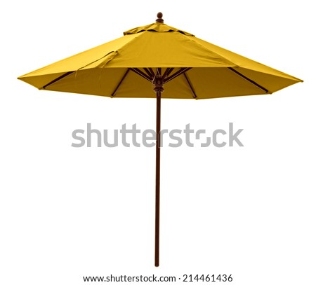 Yellow beach umbrella isolated on white. Clipping path included. #214461436