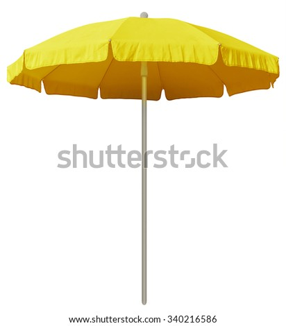 Yellow beach umbrella isolated on white. Clipping path included. #340216586