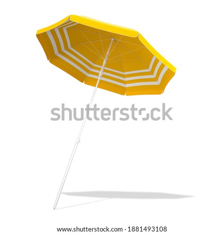 Yellow beach umbrella parasol isolated on white background with CLIPPING PATH, 3d rendering ストックフォト ©