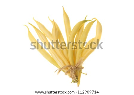 Yellow beans tied with string isolation on white