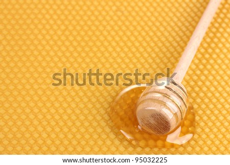 yellow beautiful honeycomb and wooden honey drizzler with honey