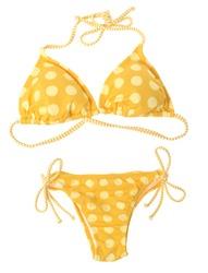Yellow bikini isolated over white background