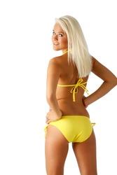 Yellow bikini pose