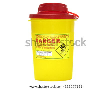 Yellow biohazard medical contaminated  sharps clinical waste container isolated on white background