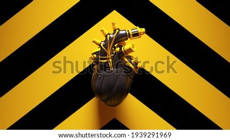 Yellow Black Cyborg Heart with Yellow an Black Chevron Background 3d illustration render Stock foto ©
