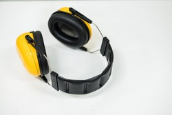 Yellow black ear muffs for ear protection, PPE