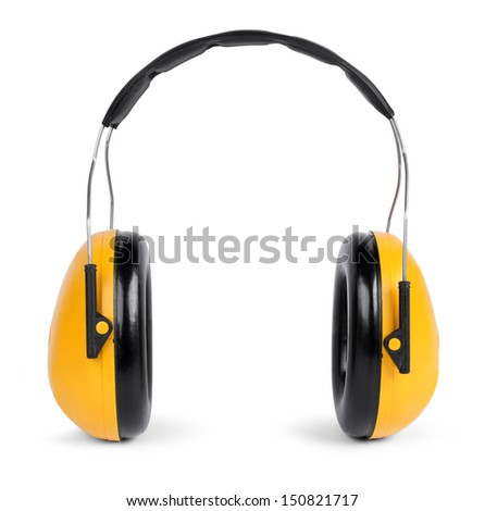 Yellow black ear protectors isolated on white background